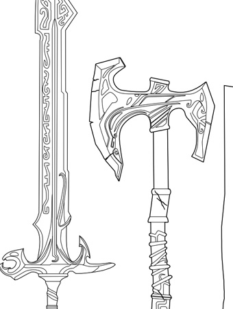 Sword Coloring Pages Weapons Sketch Coloring Page