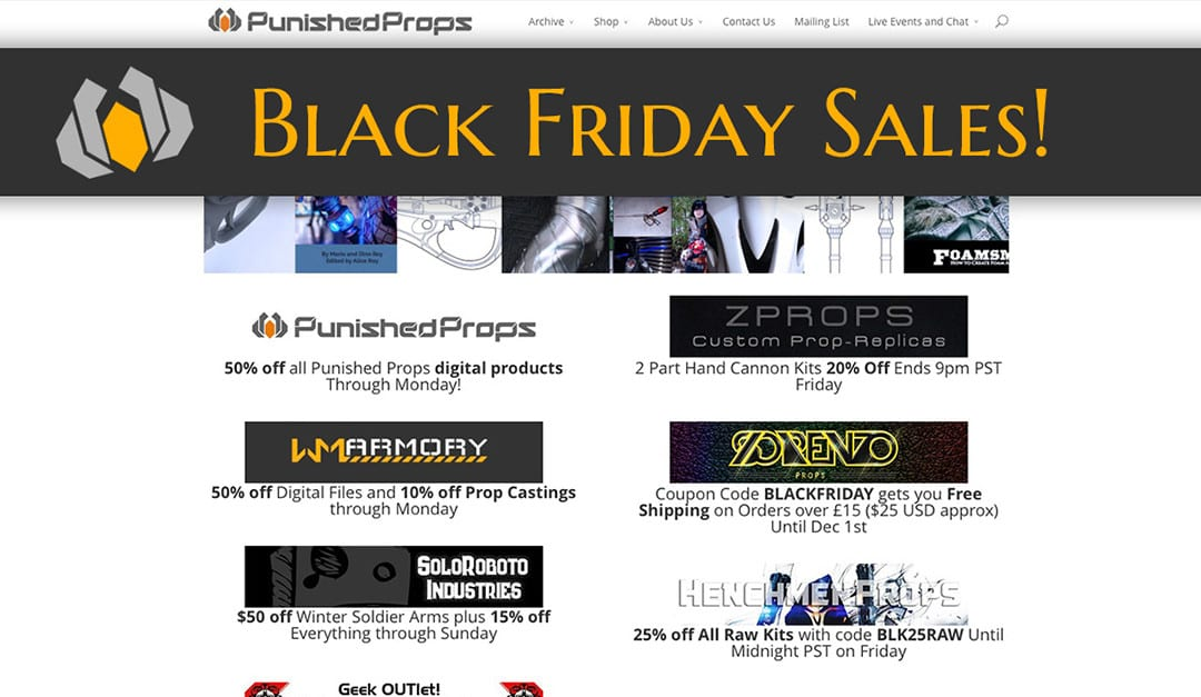 Black Friday Sales for your Prop & Cosplay Needs!